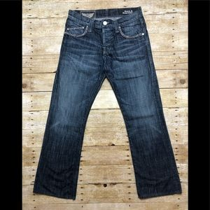 Rock and Republic flare denim with rhinestones